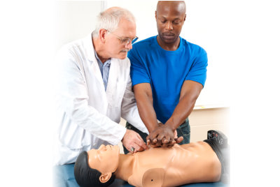medical personnel doing chest compressions
